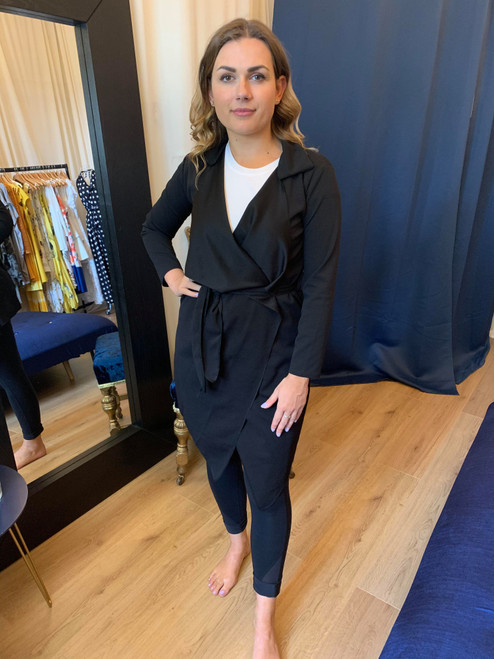 Don't Go Chasing Waterfalls Black Waterfall Belted Jacket