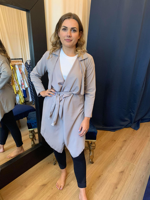 Don't Go Chasing Waterfalls Grey Waterfall Belted Jacket