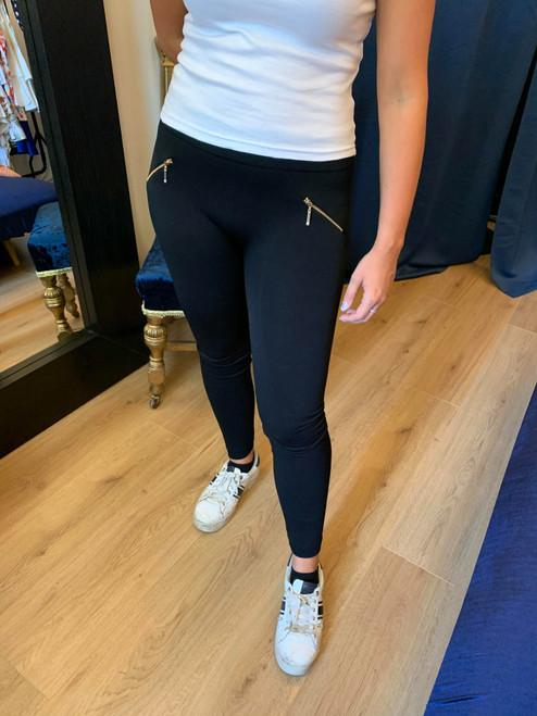 Zip It Up Black Zip Detailing Stretch Leggings