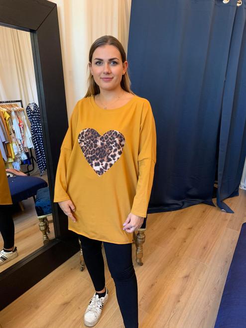 Driven By Desire Mustard Leopard Print Heart Long Sleeve Oversized Top