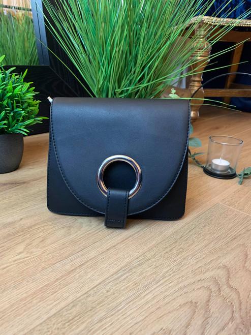 Designer Inspired Black Cross Body Envelope Bag