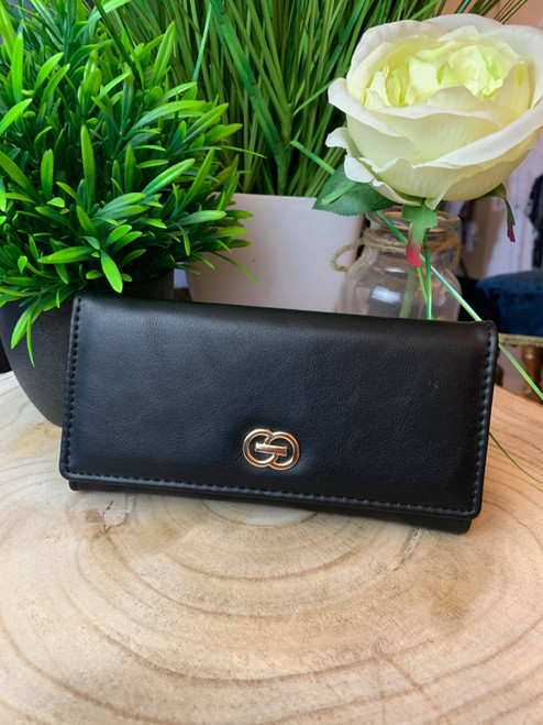 Continental Designer Inspired Large Black Wallet