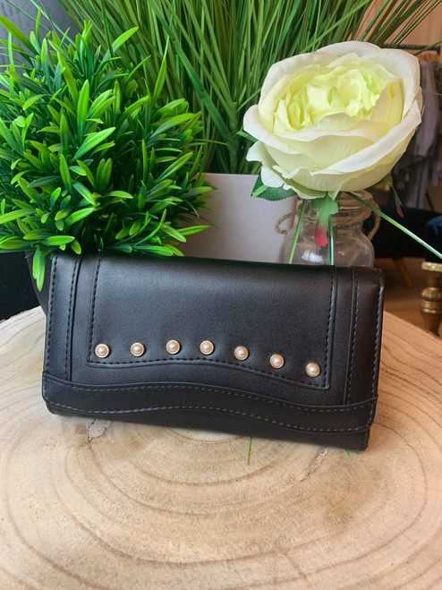Pearly Queen Large Studded Black Leather Purse Gift Boxed