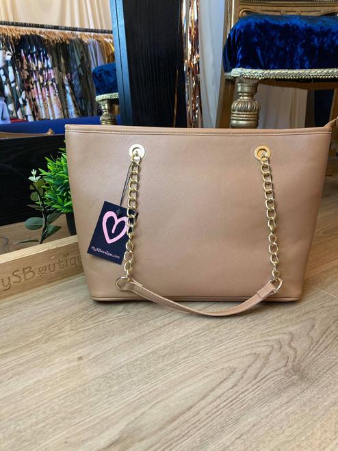 Designer Inspired Tan Chain Strap Tote Bag