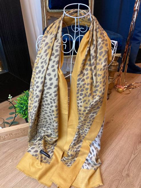 Cashmere Crush Mustard Leopard Print Large Scarf