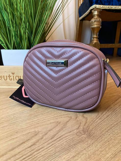 Designer Inspired Lilac Quilted 'V' Detail Chain Strap Bag