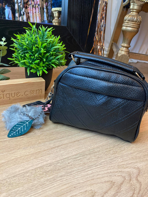 Designer Inspired V Detail Black Pom Pom Shoulder Bag