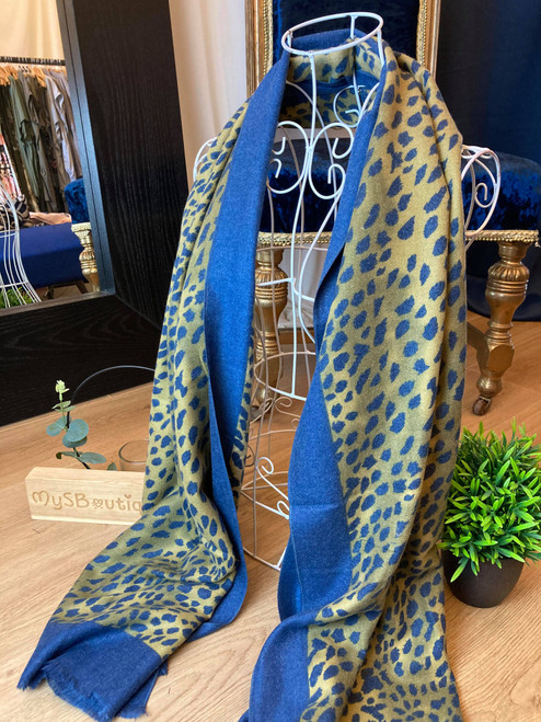 Cashmere Crush Navy Leopard Print Large Scarf