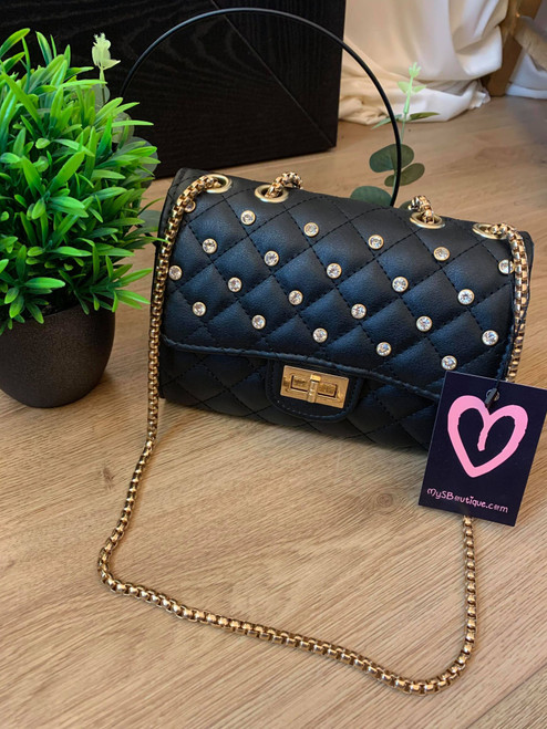 Tell Me About It Black Chain Handbag With Studs And Padded Design