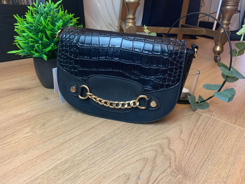 Eyes On Me Black Croc Effect Leather Saddle Bag With Gold Chain Hardware
