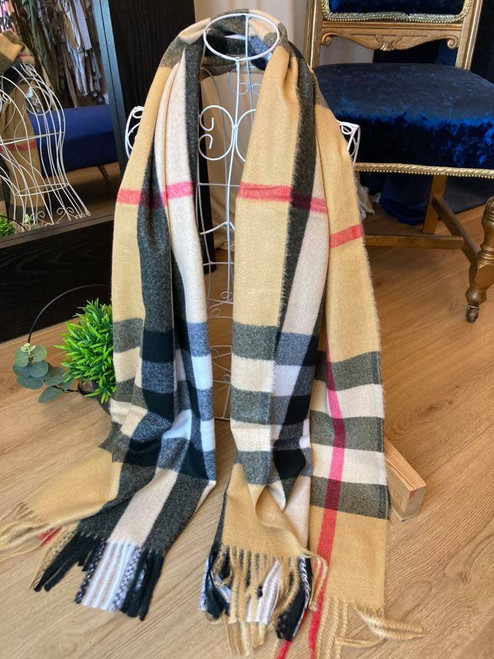 Its All About Tartan - Tan Tartan Check Large Wool Scarf