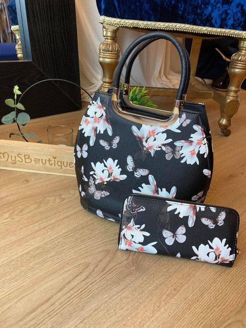 Blossoming Beauty Black Floral Bowler Bag and Purse Set