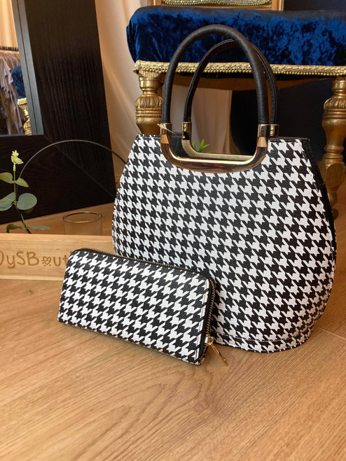 Breakfast At Tiffanys Monochrome Houndstooth Bowler Bag and Purse Set