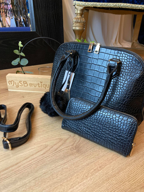 City Chic Black Croc Effect Handbag and Purse Set