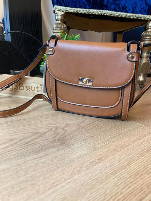 Essential Tan Saddle Bag with Flap Design