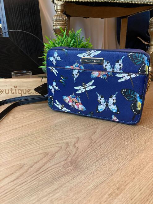 Flutterby Butterfly Navy Retro Flower Design Chain Shoulder Bag
