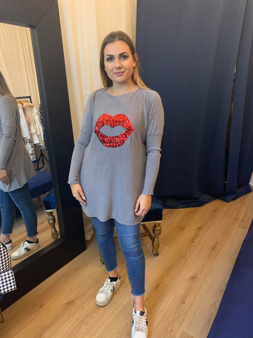 Hugs and Kisses Grey Long Sleeve Fine Knit Jumper