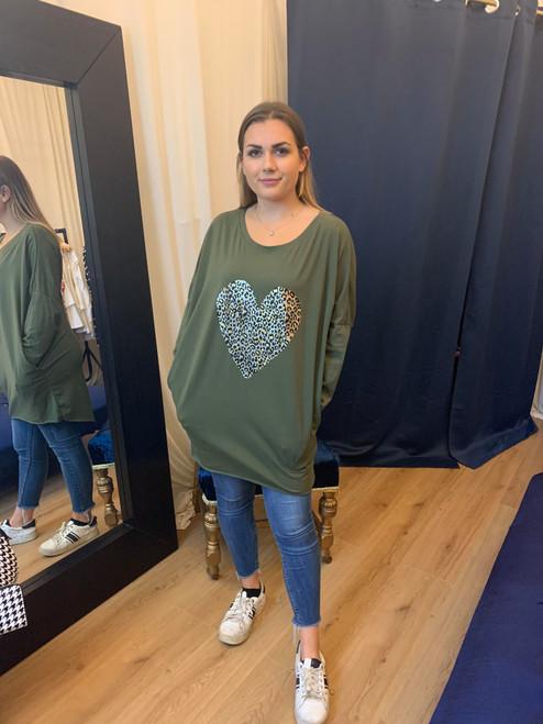 Sweet On You Khaki Metallic Leopard Print Heart Oversized Long Sleeve Top