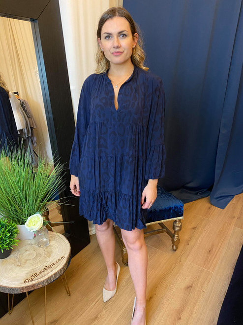 Wild Thing Navy Leopard Print Smock Dress