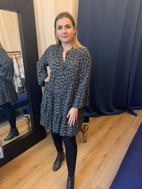 Wild Thing Dark Grey Leopard Print Smock Dress