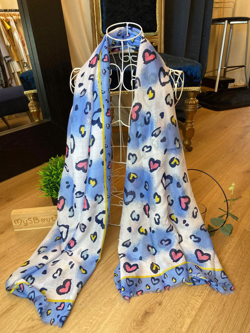 Truly Madly Deeply Blue and White Heart Print Scarf