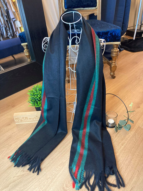 Classic Large Black Tasselled Wool Scarf With Green Stripe Detailing