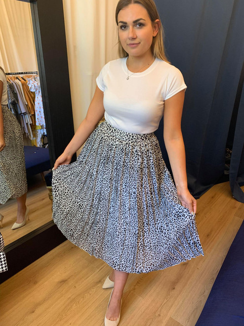 Not To Be Messed With White Animal Print Pleated Midi Skirt