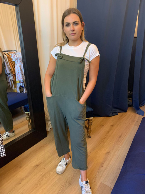 Bow Down Ultimate Casual Relaxed Khaki Dungarees