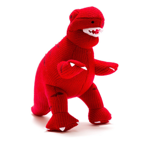 Knitted Dinosaur T-Rex Red - Small