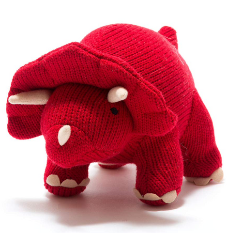 Knitted Dinosaur Red Triceratops - Large