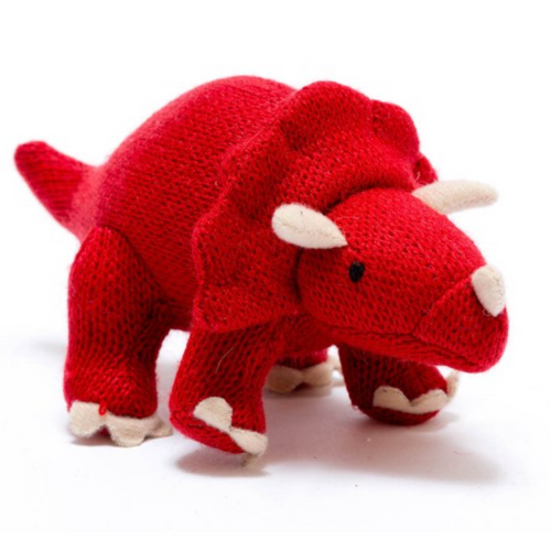 Knitted Dinosaur Red Triceratops - Small