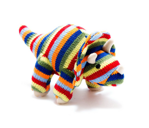 Knitted Triceratops Stripes Rattle