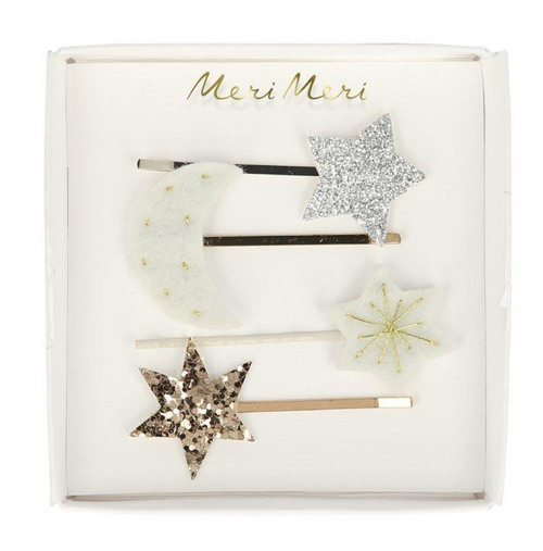 Hair Slides Clips - Moon and Star