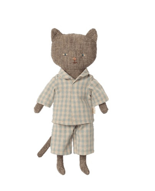 Chatons kitten in grey and nightclothes.