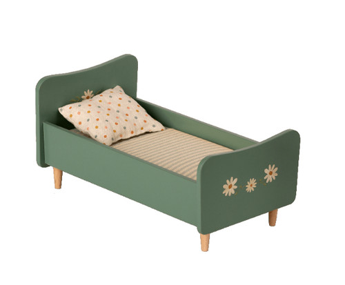 Maileg wooden bed in mint