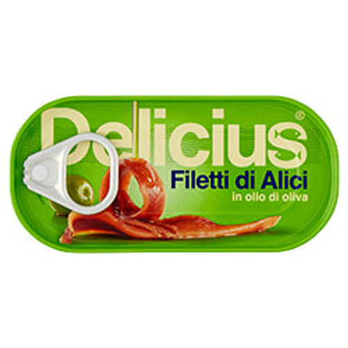 Buy Delicius Anchovy Fillets in Olive Oil 46g at La Dispensa
