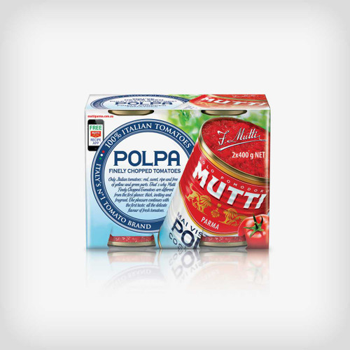 Buy Mutti Polpa Tomatoes Finely Chopped 2x400g at La Dispensa