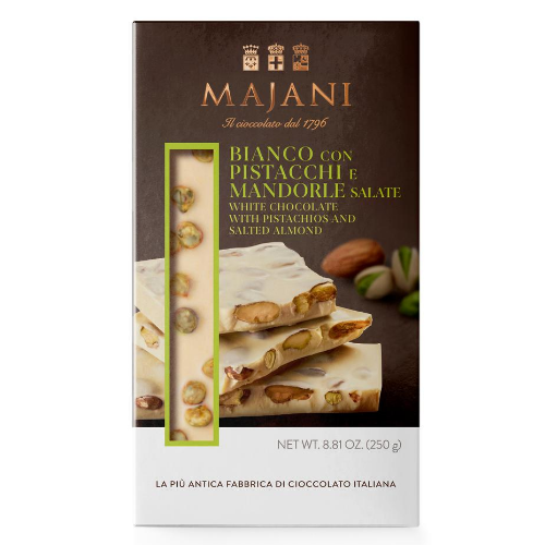 Buy Majani White chocolate Block with salted almonds and pistachios 250g at La Dispensa