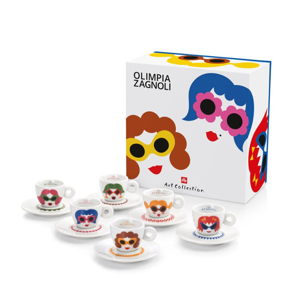 Buy Illy Olimpia Zagnoli Illy Art Collection 6 Espresso Cups & Saucers at La Dispensa