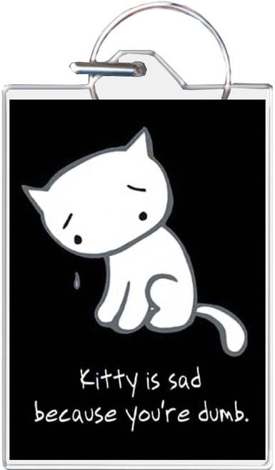 Sad Kitty You're Dumb Keychain