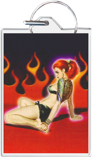 Tattoo Girl With Flames Keychain