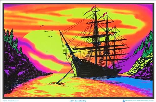 Product Image for Sunset Bay Ship Black Light Poster