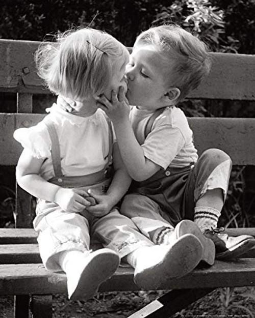 Kiss Me You Fool -Childhood Innocent Kiss Poster (16x20)
