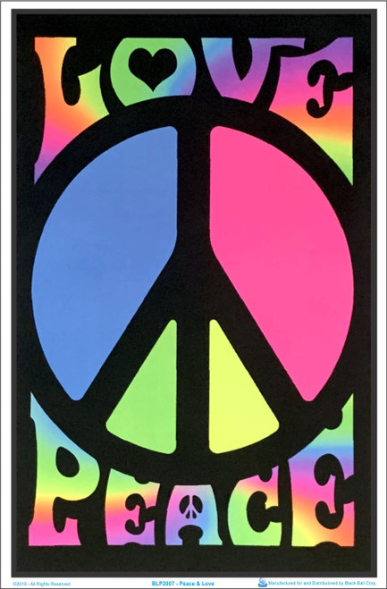 Product Image for Peace & Love Retro Black Light Poster