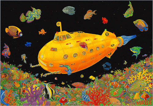Product Image for Yellow Submarine- Tom Masse  Non-Flocked Blacklight Poster