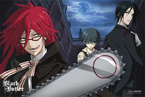 Black Butler - Sebastian and Ciel vs Grell Anime Poster Image
