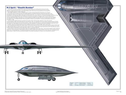 B-2 Three Views Military Airplane Educational Poster 24x18