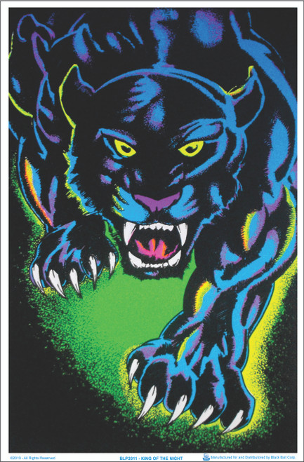 Product Image for King of The Night Panther Black Cat Black Light Poster