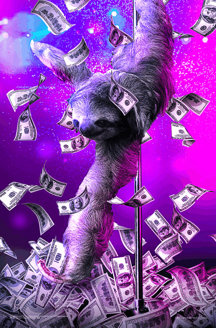 """Pole Dance Sloth by James Booker Mini Poster - 11"""" x 17"""""""