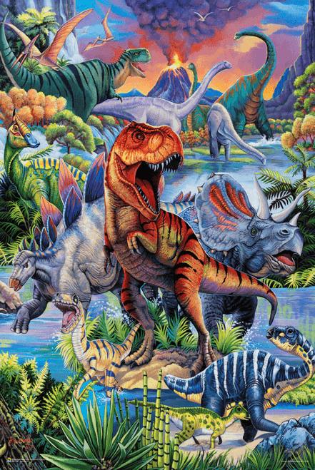 "Dinosaurs by Jenny Newland Poster - 24"" x 36"""